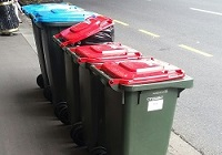 rubbish bins at bus stop 200